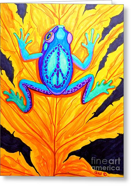 Signed Drawings Greeting Cards - Peace Frog on Fall Leaf Greeting Card by Nick Gustafson