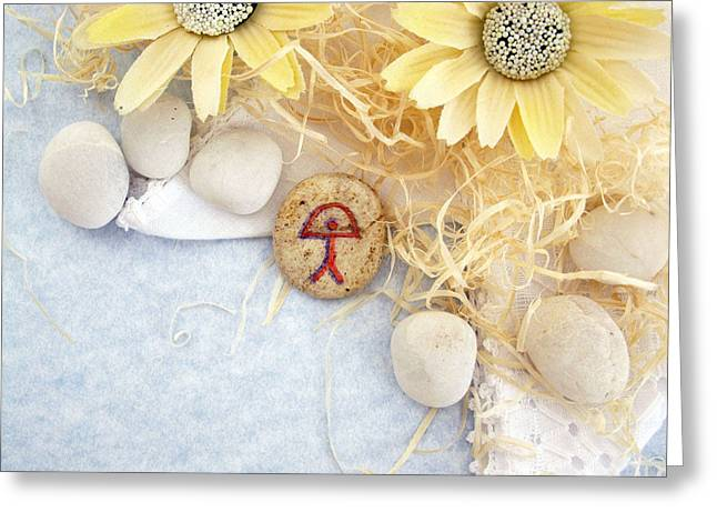 Spiritual Jewelry Greeting Cards - PEACE good luck stone Greeting Card by Melanie Bourne
