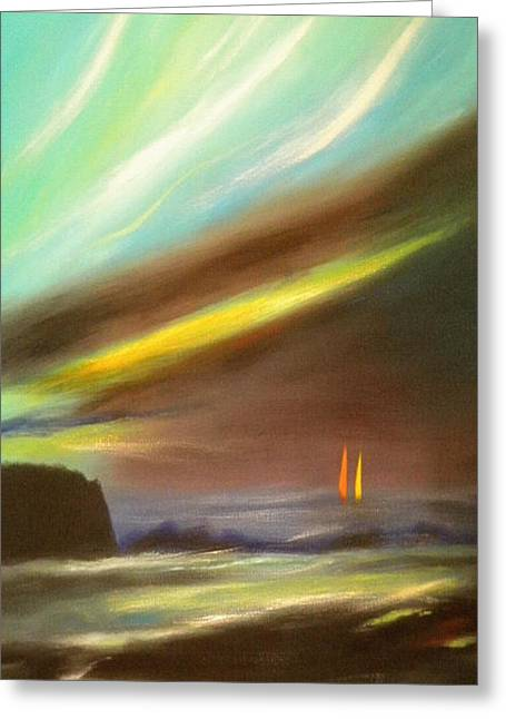 Sunset Posters Greeting Cards - Peace Is Colorful - Vertical Painting Greeting Card by Gina De Gorna