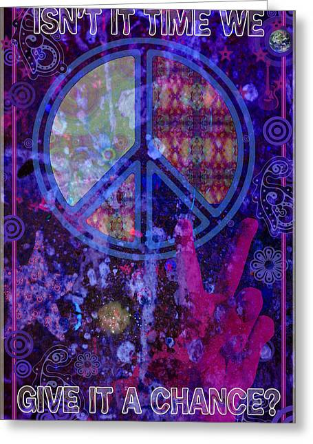 Rock And Roll Heaven Greeting Cards - Peace Greeting Card by John Goldacker