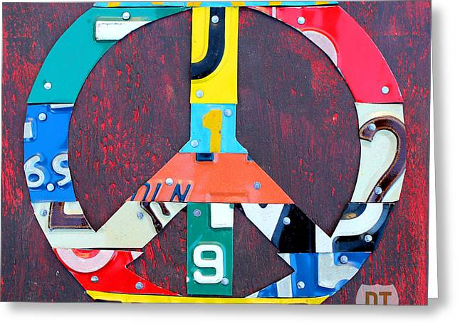 Peace Symbol Greeting Cards - Peace License Plate Art Greeting Card by Design Turnpike