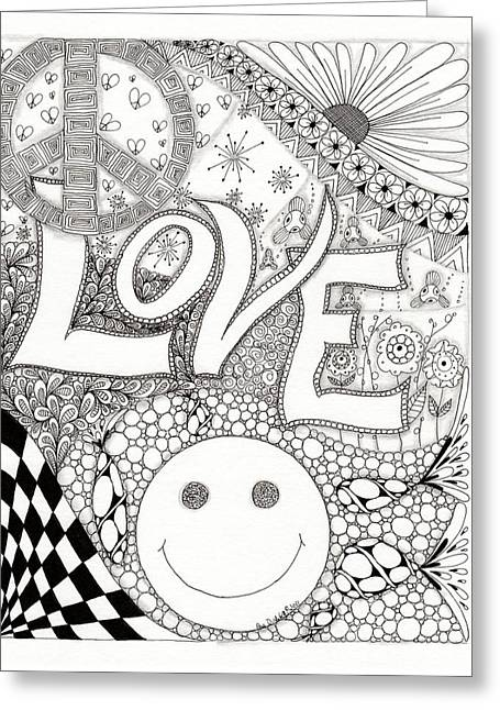 Fireworks Drawings Greeting Cards - Peace Love and Happiness Greeting Card by Paula Dickerhoff