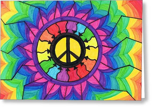Peace Mandala Greeting Card by Cheryl Fox