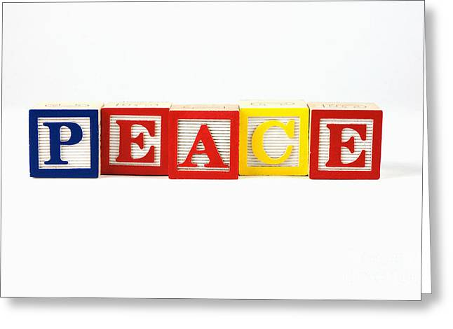 Wooden Alphabet Blocks Greeting Cards - Peace Greeting Card by Photo Researchers, Inc.