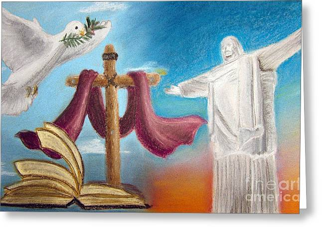 Jesus Pastels Greeting Cards - Peace Greeting Card by Popokino Art