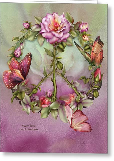 Rose Mixed Media Greeting Cards - Peace Rose Greeting Card by Carol Cavalaris