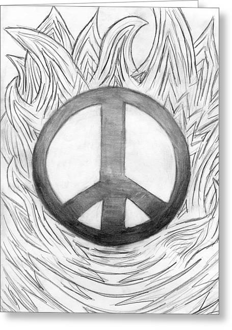 Best Sellers -  - Engulfing Greeting Cards - Peace Sign Greeting Card by Tessa Hunt-Woodland