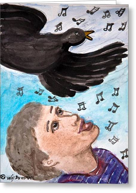 Crow. Bird Music Greeting Cards - Peace Song of All Creatures Greeting Card by ClareMaria Vrindaji Bowman
