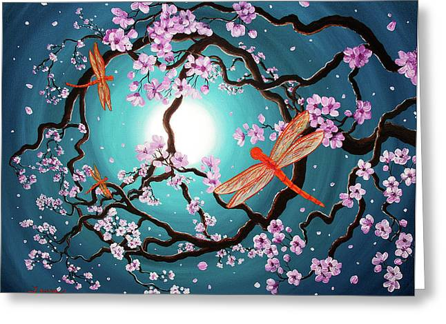 Cherry Blossoms Paintings Greeting Cards - Peace Tree with Orange Dragonflies Greeting Card by Laura Iverson