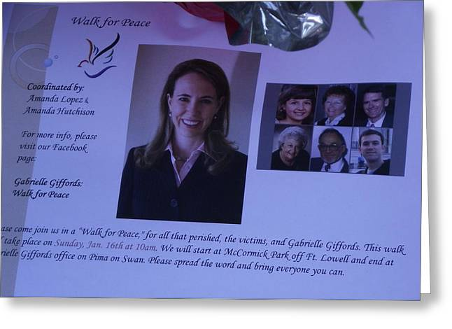 Gabby Giffords Greeting Cards - Peace Walk for Gabby Greeting Card by Jayne Kerr