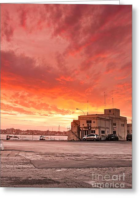 Italian Sunset Greeting Cards - Peaceful harbour Greeting Card by Gabriela Insuratelu
