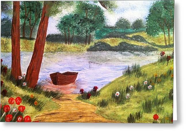 Pine Needles Paintings Greeting Cards - Peaceful Lake Greeting Card by Kimberly Hebert