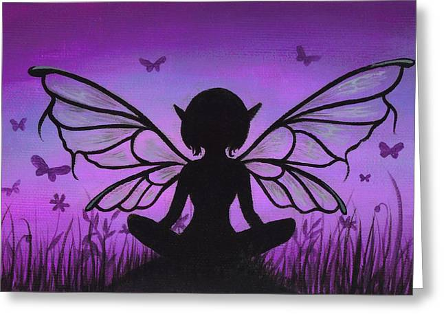 Fairies Paintings Greeting Cards - Peaceful Meadows Greeting Card by Elaina  Wagner