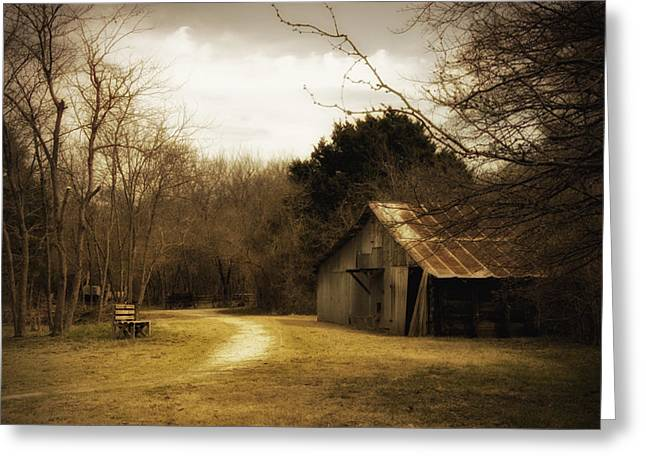 Old Country Roads Greeting Cards - Peaceful Old Barn Greeting Card by Iris Greenwell