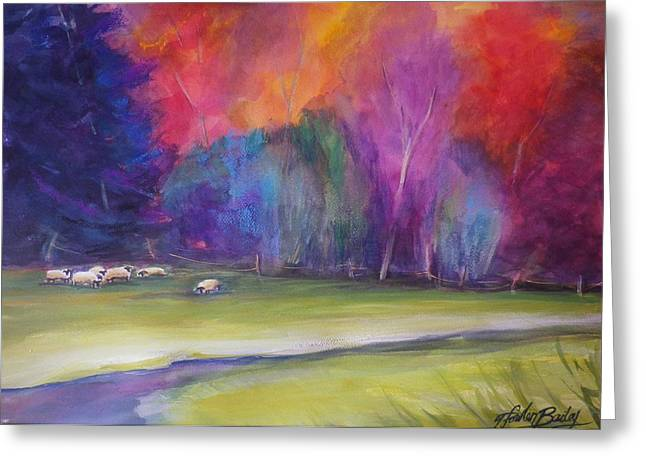 Peaceful Pastoral Sheep Greeting Card by Therese Fowler-Bailey