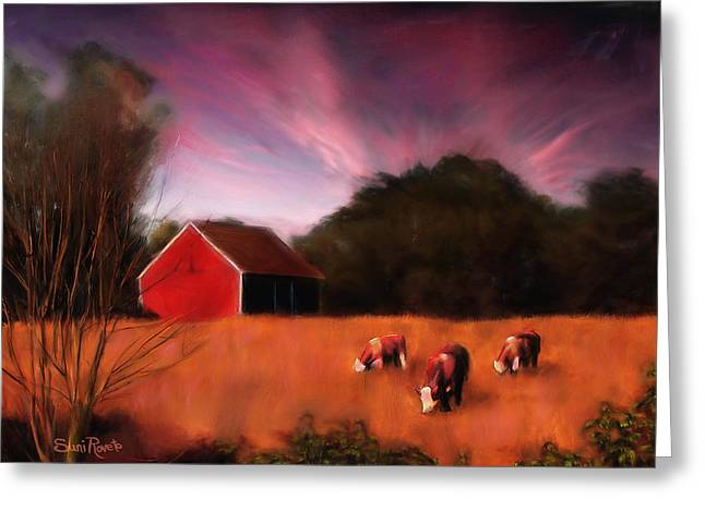 Steer Greeting Cards - Peaceful Pasture Greeting Card by Suni Roveto