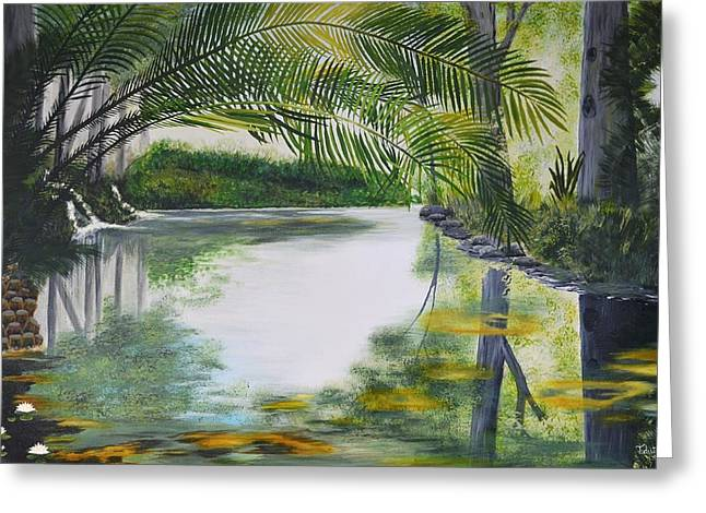 PEACEFUL POND Greeting Card by Tessa Dutoit