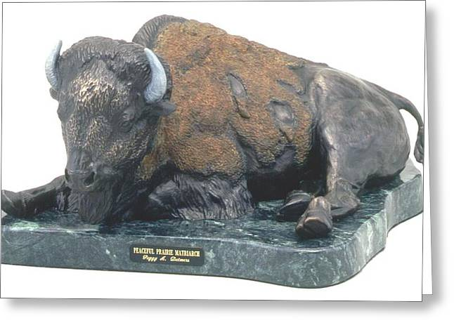Bison Sculptures Greeting Cards - Peaceful Prairie Matriarch Greeting Card by Peggy Detmers