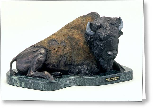 Bison Sculptures Greeting Cards - Peaceful Prairie Patriarch Greeting Card by Peggy Detmers