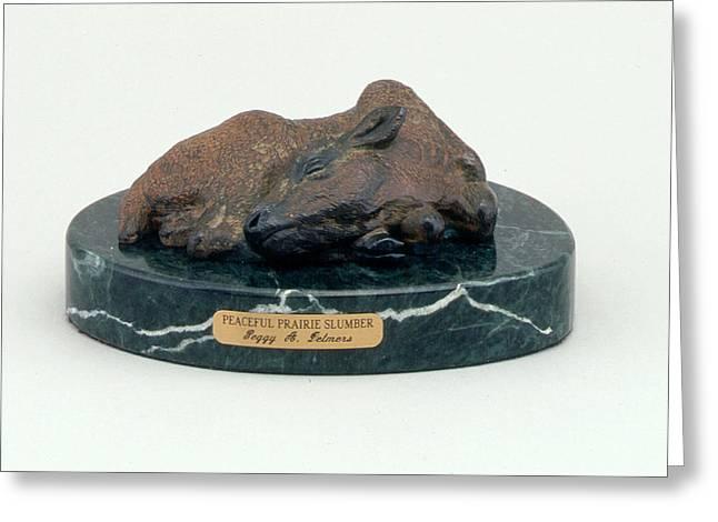 Western Western Art Sculptures Greeting Cards - Peaceful Prairie Slumber Greeting Card by Peggy Detmers