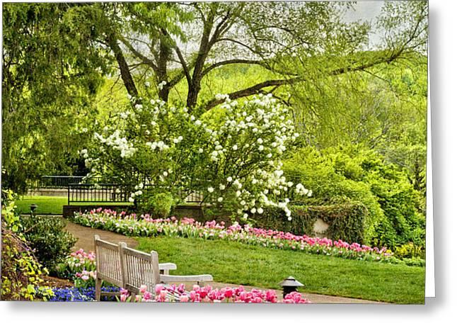 Peaceful Spring Park Greeting Card by Cheryl Davis