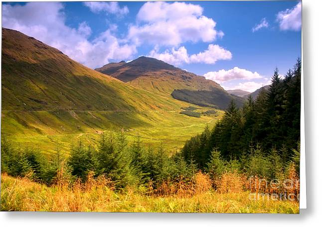Best Sellers Greeting Cards - Peaceful Sunny Day in Mountains. Rest and Be Thankful. Scotland Greeting Card by Jenny Rainbow