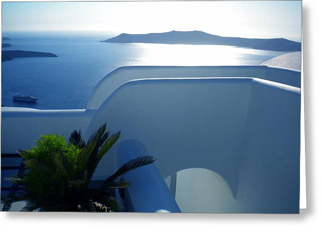 Table Greeting Cards - Peaceful Sunset Santorini Greeting Card by Colette V Hera  Guggenheim