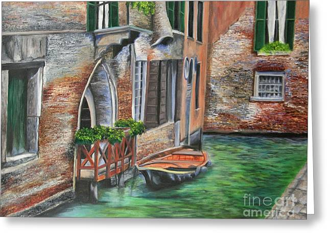Italian Seascape Greeting Cards - Peaceful Venice Canal Greeting Card by Charlotte Blanchard