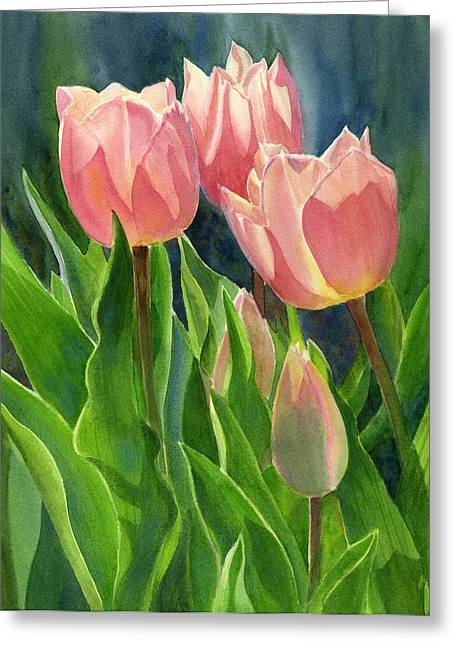 Pink Tulip Greeting Cards - Peach Colored Tulips with Buds Greeting Card by Sharon Freeman