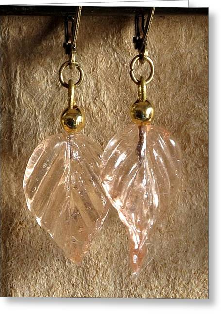 Gold Earrings Jewelry Greeting Cards - Peach Leaves Greeting Card by Jan Brieger-Scranton