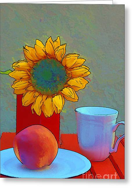 Saucer Peach Greeting Cards - Peach of a Day Greeting Card by Diana Cox
