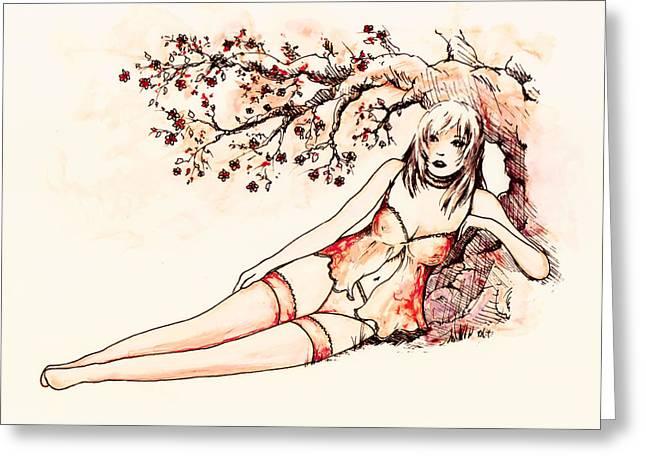 Peach Drawings Greeting Cards - Peach Greeting Card by Rachel Christine Nowicki