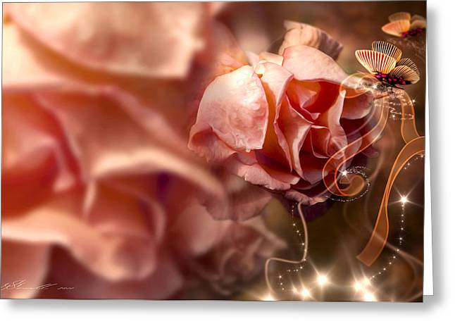 Twinkle Greeting Cards - Peach Roses and Ribbons Greeting Card by Svetlana Sewell