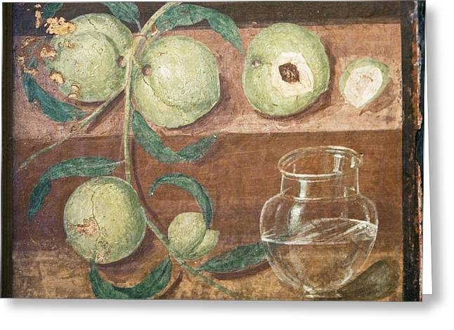 Herculaneum Greeting Cards - Peaches And A Glass Jug, Roman Fresco Greeting Card by Sheila Terry