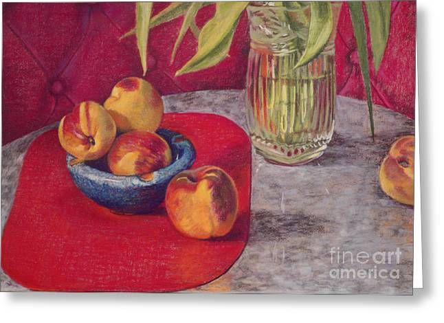 Peaches Pastels Greeting Cards - Peaches and Nectarines Greeting Card by Kathryn Donatelli