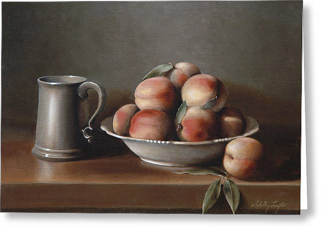 Pewter Mugs Greeting Cards - Peaches and Pewter Greeting Card by Shelley  Thayer Layton