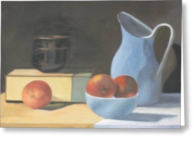 Stoneware Paintings Greeting Cards - Peaches and Stoneware Greeting Card by Linda Loen