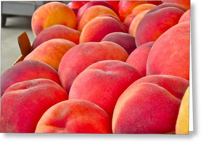 Peach Greeting Cards - Peaches For Sale Greeting Card by Gwyn Newcombe
