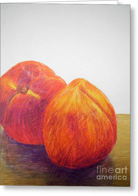 Peach Drawings Greeting Cards - Peaches Greeting Card by Jessica Grace Leahy
