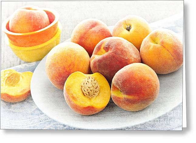 Halved Greeting Cards - Peaches on plate Greeting Card by Elena Elisseeva