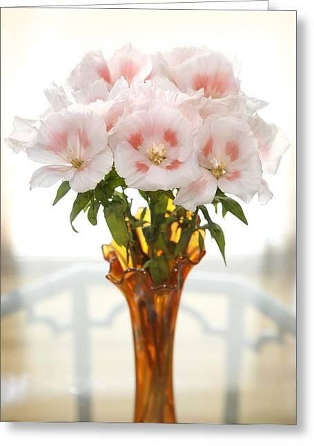 Gladiolas Greeting Cards - Peachy Gladiolas Greeting Card by Marilyn Hunt