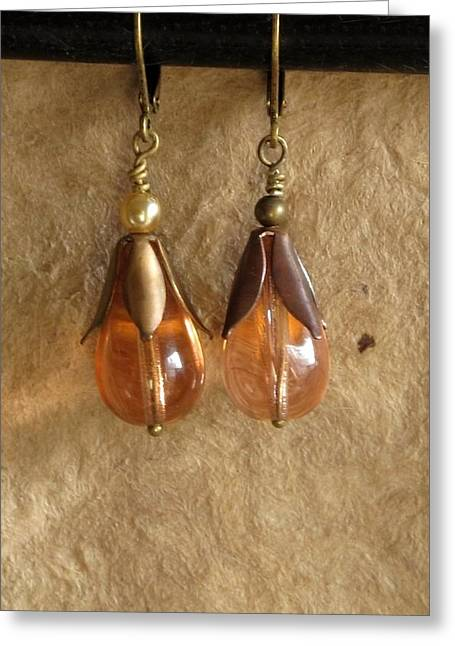 Gold Earrings Jewelry Greeting Cards - PeachyKeen Greeting Card by Jan Brieger-Scranton