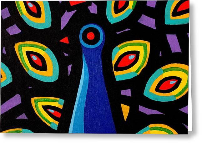 Tropical Bird Art Print Greeting Cards - Peacock 10 Greeting Card by John  Nolan