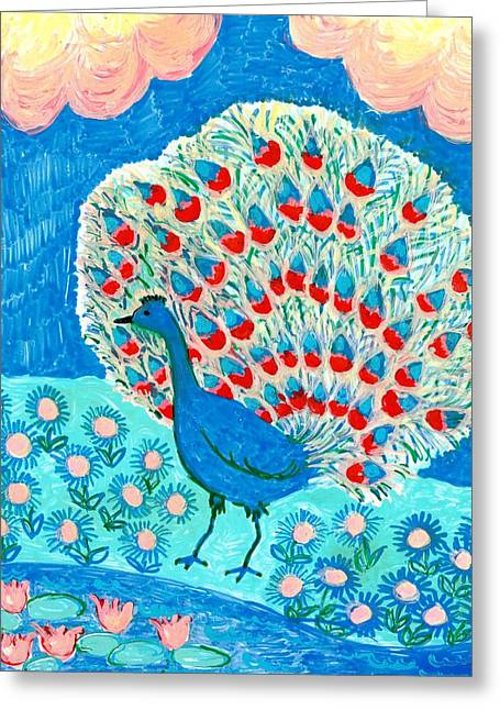 Reds Ceramics Greeting Cards - Peacock and lily pond Greeting Card by Sushila Burgess