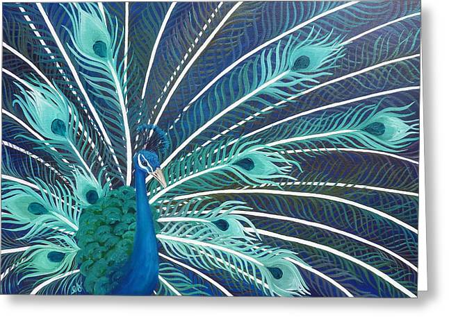 Peacock Greeting Card by Estephy Sabin Figueroa