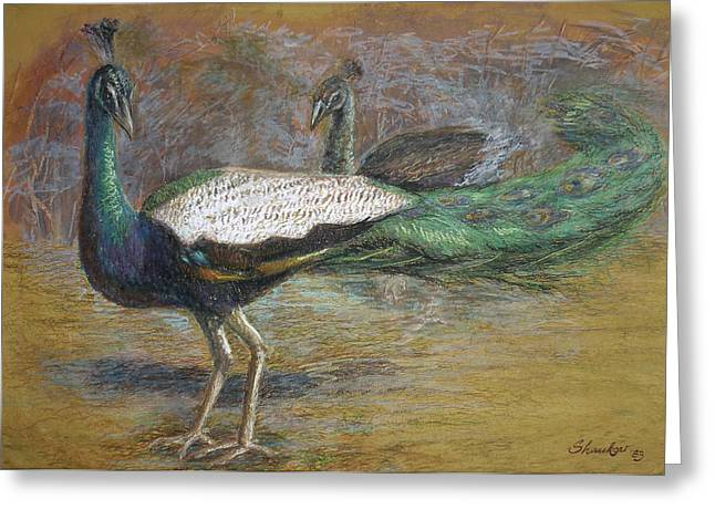 National Pastels Greeting Cards - Peacock Family Greeting Card by Shankar Subramaniam