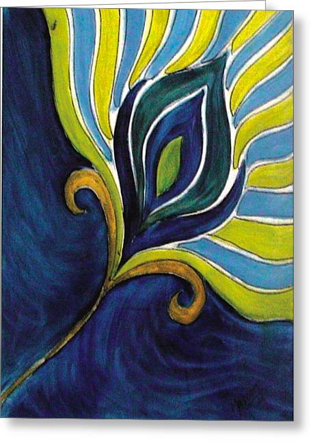 Empowerment Greeting Cards - Peacock Feather Greeting Card by Masoom Sanghi