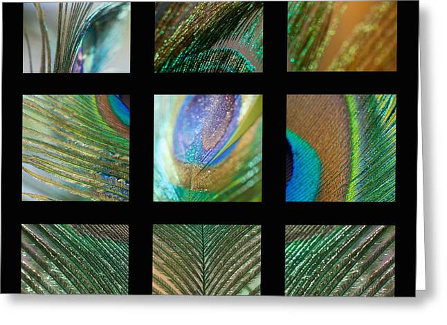 Contemporary Abstract Photographs Greeting Cards - Peacock Feather Mosaic Greeting Card by Lisa Knechtel