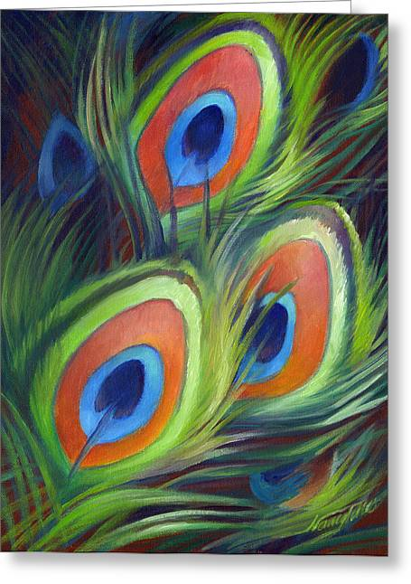 Tail Feather Greeting Cards - Peacock Feathers Greeting Card by Nancy Tilles