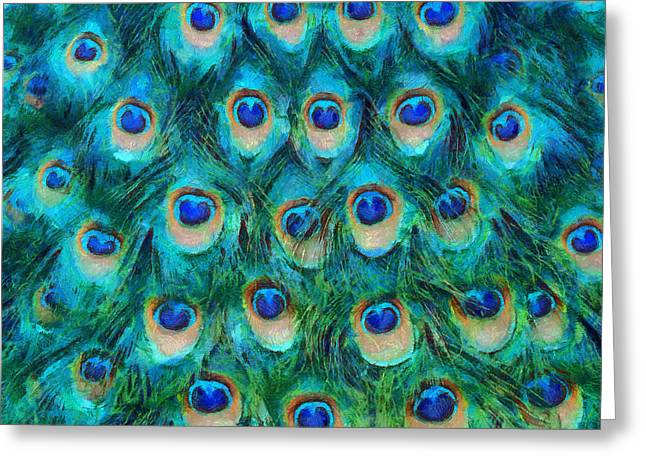 Hues Greeting Cards - Peacock Feathers Greeting Card by Nikki Marie Smith